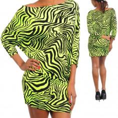 Rochie Verde cu Negru si Imprimeu Atractiv - Rochie de zi, Marime: M, L, Culoare: Din imagine