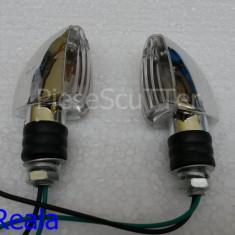Set Semnale / Semnal / Semnalizari ( nichelate ) moto scuter ( bec ) - Semnalizare Moto