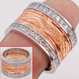 Verigheta din argint 925 si white topaz, placata cu aur roz de 14 K, marime 7