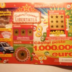 Bilet Loterie - Supercazinoul Libertatea - Bilet Loterie Numismatica