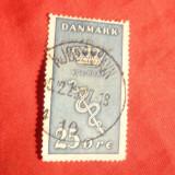 Timbru 25 Ore albastru 1929 Danemarca -Lupta impotriva cancer, stampilat