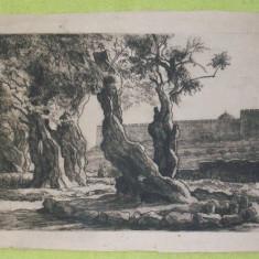 Gravura de la 1927 intitulata Ierusalem, semnata Gabor Istvan.Rereducere! - Pictor strain, Peisaje, Carbune, Altul