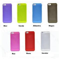 Husa iPhone 5 5S ULTRA SLIM grosime 0.3 mm 7 CULORI | PESTE 2200 CALIFICATIVE POZITIVE - Husa Telefon Apple, Transparent, Plastic, Fara snur