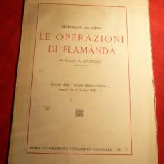General A.Averescu - Le Operationi di Flamanda -Ed.1927 ,cu  harta -Recenzie