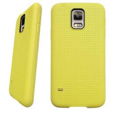 Carcasa de protectie + folie ecran soft TPU pentru Samsung Galaxy S5 i9600 G900 - husa acopera toate marginile, nu aluneca din mana - culoare: GALBEN - Husa Telefon