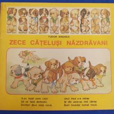 CARTE POEZII COPII ~ TUDOR ARGHEZI - ZECE CATELUSI NAZDRAVANI * VOLUM INGRIJIT DE MITZURA ARGHEZI - BUCURESTI - 1991 - Carte poezie copii