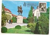 Ilustrata maxima-TARGU MURES-Statuia lui Avram Iancu, Romania de la 1950, Arta