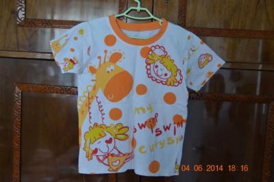 Pijama de vara cu girafa portocalie foto
