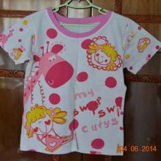Pijama de vara cu girafa roz, Culoare: Alb