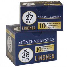 CUTIE  CAPSULE  pentru monede ( 10 buc )  LINDNER  Ǿ 39 mm