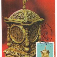 Ilustrata maxima-MUZEUL CEASULUI PLOIESTI-Ceas Renaissance Germaniasec XVIII, din casa pictorului Th Aman, Romania de la 1950, Altele