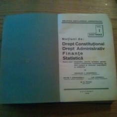 Notiuni de: DREPT CONSTITUTIONAL*DREPT ADMINISTRATIV*FINANTE*STATISTICA -- Th. C. Marinescu, P.T. Stefanescu, I. Ganescu, M.N. Patac --1936, 656 p. - Carte Drept constitutional