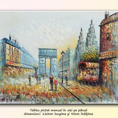 Tablou living, dormitor - Parisul vechi, scena stradala (3) - ulei in cutit 120x90cm, livrare gratuita in 24h