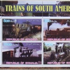 SOMALIA 2002 - TRENURI DIN AMERICA DE SUD 4 VALORI IN M/SH, NEOBLIT. - E1859, Transporturi