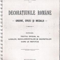 DECORATIUNILE ROMANE - ORDINE, CRUCI SI MEDALII - XEROCOPIE
