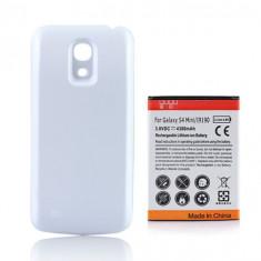 Baterie extinsa 4300mAh Samsung Galaxy S4 mini i9190 + capac spate alb + folie protectie ecran + expediere gratuita