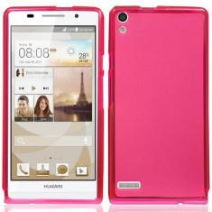 Husa silicon transparent roz pink Huawei Ascend P6 + folie protectie ecran