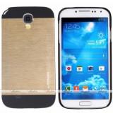 Husa pelicula aluminiu MOTOMO Samsung Galaxy S4 i9500 i9505 + folie ecran - Husa Telefon Samsung, Auriu