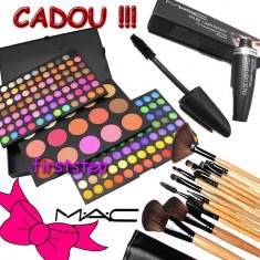 Trusa machiaj Mac Cosmetics profesionala MAC 183 culori nuante paleta farduri Blush Pudra + set 15 pensule make up machiaj BOBBI BROWN + CADOU RIMEL MAC MASCARA