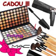 123123Trusa machiaj profesionala MAC 120 culori  + set 15 pensule make up  + RIMEL MAC
