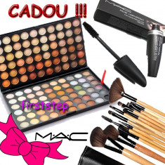 Trusa machiaj profesionala MAC 120 culori + set 15 pensule make up + RIMEL MAC - Trusa make up