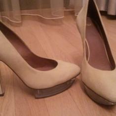 Pantofi asos - Pantof dama Asos, Culoare: Galben, Piele intoarsa, Galben