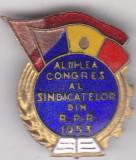 Insigna Al III-lea Congres al Sindicatelor din R.P.R  1953