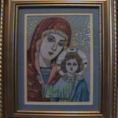 Icoana sfintita Maica Domnului Fecioara Maria cu Pruncul Isus goblen - Icoana brodate