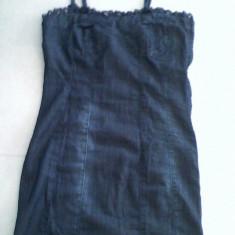Rochie mini elastica BERSHKA by zara jeans denim albastru inchis stil corset mulata bretele reglabile, f sexy, S26 - 3 produse transport gratis!!! - Rochie de zi Zara, Marime: S, Cu bretele
