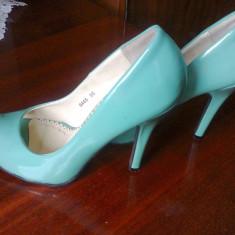 Pantofi verzi 35 eleganti - Pantof dama, Culoare: Verde, Cu toc
