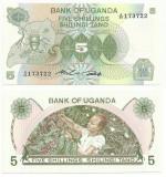 UGANDA  5 Shilingi 1982 - UNC  !!!