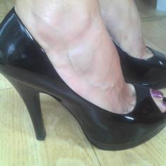 Pantofi din piele cu platforma firma Espirit marimea 39 ! - Pantof dama Esprit, Culoare: Negru, Negru, Cu toc
