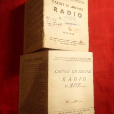 2 Carnete Abonat Radio 1956 cu Timbre Fiscale