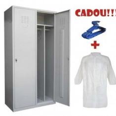VESTIAR COMPARTIMENTAT METALIC CU 2 USI ECO+, 800x450x1800 mm+CADOU! (5 buc Umeras+10 buc Halat alb)