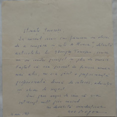 Scrisoare olografa a scriitorului Geo Bogza , datata 1967