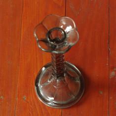 Vechi sfesnic din sticla / cristal - suport pentru lumanari cu talpa !!!! - Arta din Sticla