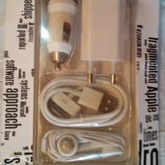 Incarcator 4 in 1 priza si auto, casti cablu de date, iPhone 3 GS/ 4G / 4GS