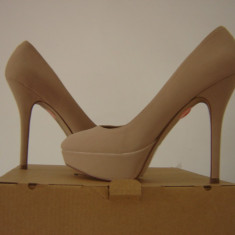 PANTOFI MANGO CREM NUDE platforma stiletto 37 office casual cocktail club - Pantof dama