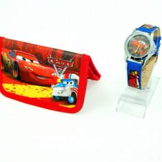 Set ceas de mana si portofel Cars - Fulger McQueen - Ceas copii Disney