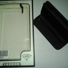 HUSA SAMSUNG GALAXY YOUNG S6310 + FOLIE CADOU - Husa Telefon Accessorize, Negru, Piele, Cu clapeta