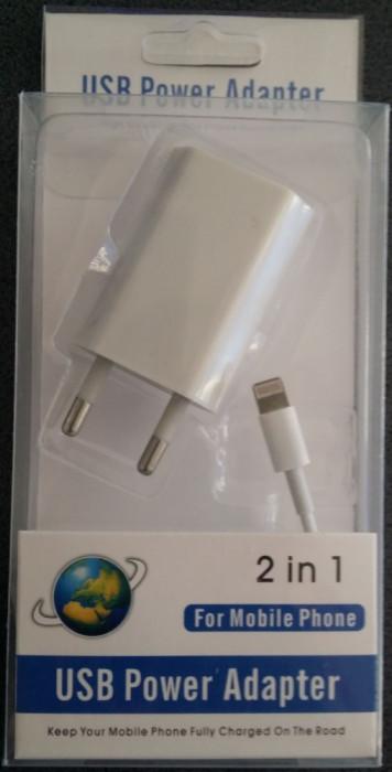 Cablu de date/ incarcare  compatibil iphone 5, 5S - 2 IN 1 foto mare