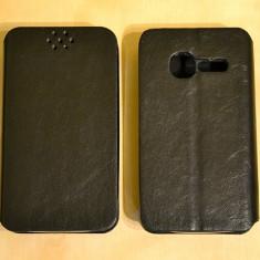 Husa Flip Case Alcatel One Touch T POP OT-4010D Black - Husa Telefon Alcatel, Negru, Piele Ecologica, Cu clapeta, Toc