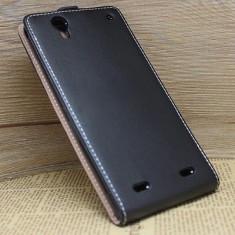 Husa SONY XPERIA T2 D5322 Flip Case Slim Inchidere Magnetica Black - Husa Telefon Sony, Negru, Piele Ecologica, Cu clapeta, Toc
