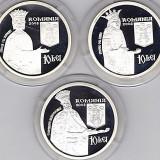 Set 3x10 lei 2008,argint,manastirile Cozia+Voronet+Sambata de Sus,intemeiate de Mircea cel Batran,Stefan cel Mare,Constantin Brancoveanu