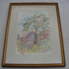 Frumoasa acuarela semnata GN si datata 1983 - Pictor roman, Peisaje, Altul