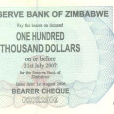 Zimbabwe 100.000 Dolari 2006 P-48b UNC !!!