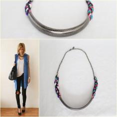 Colier Argintiu Snur Impletit Color - Colier fashion