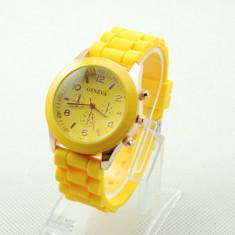 Ceas dama galben GENEVA curea silicon + cutie cadou, Fashion, Quartz, Otel, Analog