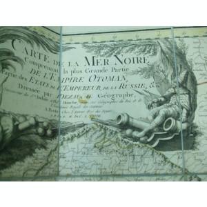 S. Delisle P.Buache Harta color Marea Neagra cu Imperiul Otoman, Rusia, Ucraina, Ungaria, Valahia, Moldova, Transilvania, Polonia, Serbia Paris 1788