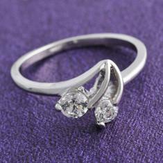 Inel aur alb filat 9k cristale zirconiu, marime 5 (US) -IN3